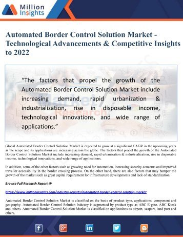 Automated Border Control Solution Market - Technological Advancements & Competitive Insights to 2022