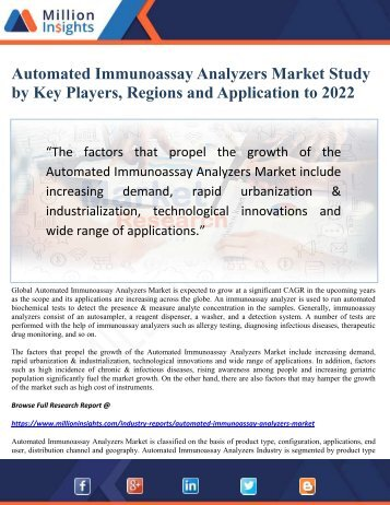 Automated Immunoassay Analyzers Market Study by Key Players, Regions and Application to 2022