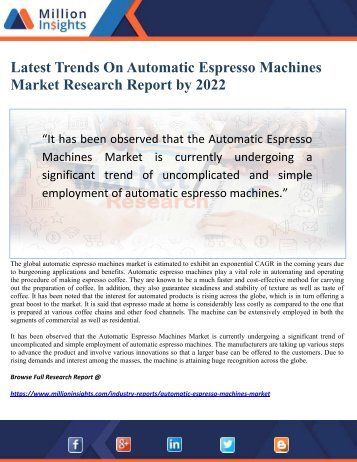 Latest Trends On Automatic Espresso Machines Market Research Report by 2022