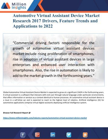Automotive Virtual Assistant Device Industry 2017 Market 2022: Key Trends, Drivers and Profile Analysis Forecast