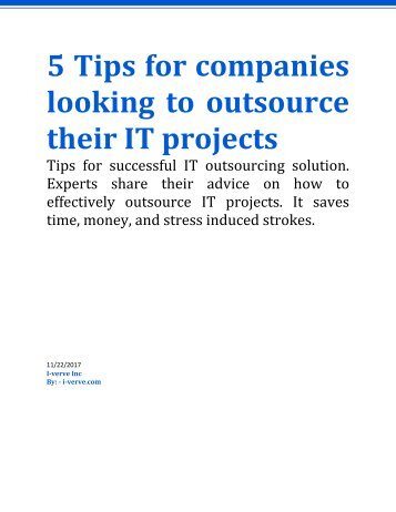 How to outsource your IT projects with these simple 5 tips