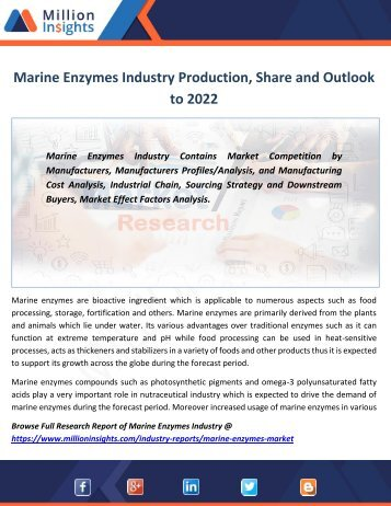 Marine Enzymes Industry Production, Share and Outlook to 2022