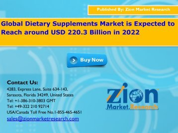Global Dietary Supplements Market is Expected to Expand US$220.3 Bn by the end of 2022