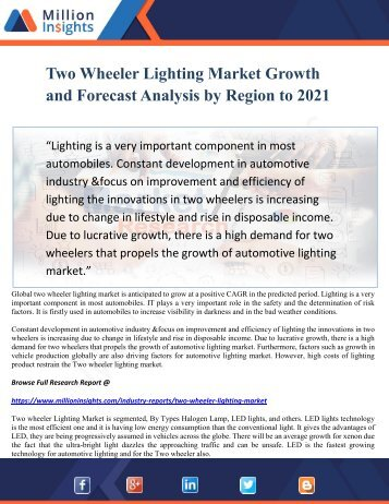 Two wheeler Lighting Market Growth and Forecast Analysis by Region to 2021