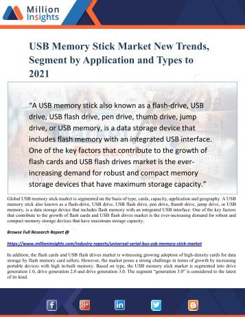USB Memory Stick Market New Trends, Segment by Application and Types to 2021