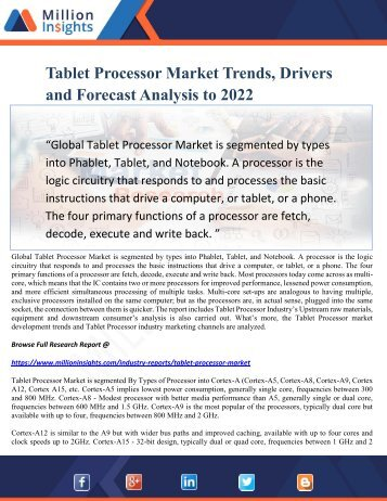 Tablet Processor Market Trends, Drivers and Forecast Analysis to 2022