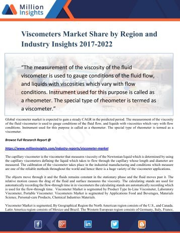 Viscometers Market Share by Region and Industry Insights 2017-2022