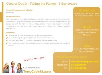 Greater Depth - Taking the Plunge New date