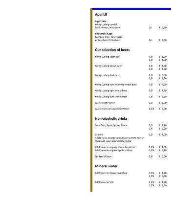 Food and beverage menu