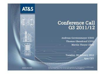 Thomas Obendrauf (CFO) Martin Theyer - AT&S