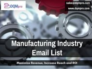 Manufacturing Industry Email List | Industrial Mailing List