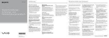 Sony SVS13A2C5E - SVS13A2C5E Guide de dépannage Allemand
