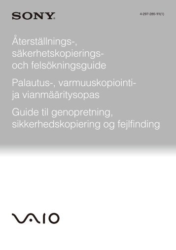 Sony VPCF24M1R - VPCF24M1R Guide de dépannage Finlandais