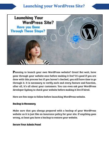 Planning to launch wordpress site? Read wordpress developer's tips