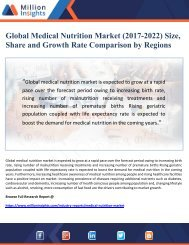 Global Medical Nutrition Market Size, Share and Growth Rate Comparison by Regions (2017-2022)