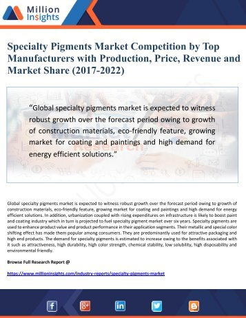 Global Specialty Pigments Market Competition by Top Manufacturers with Production, Price, Revenue and Market Share (2017-2022)