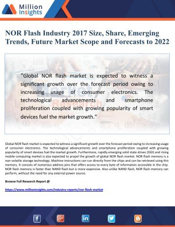 NOR Flash Industry 2017 Size, Share, Emerging   Trends, Future Market Scope and Forecasts to 2022