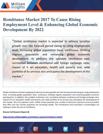 Remittance Market 2017 To Cause Rising Employment Level and Enhancing Global Economic Development By 2022