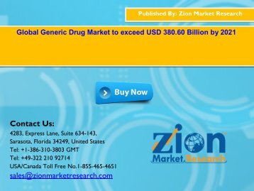 Global Generic Drug Market, 2015 – 2021