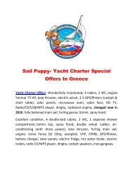 Sail Puppy- Yacht Charter Special Offers In Greece