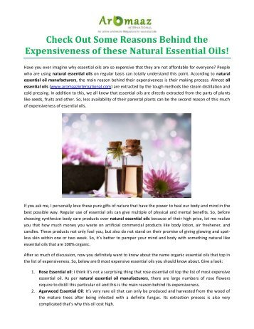 Check Out Some Reasons Behind the Expensiveness of these Natural Essential Oils!