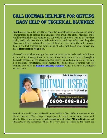 Hotmail Helpline for Technical support