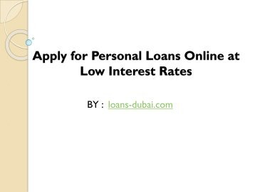 Apply for Personal Loans Online at Low Interest Rates