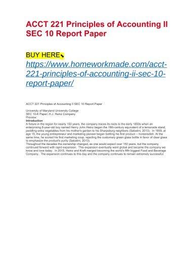 ACCT 221 Principles of Accounting II SEC 10 Report Paper