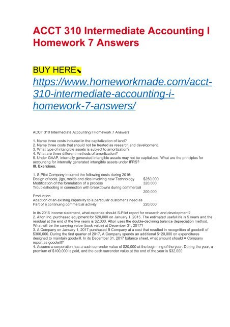 ACCT 310 Intermediate Accounting I Homework 7 Answers