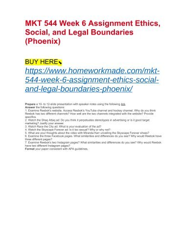 MKT 544 Week 6 Assignment Ethics, Social, and Legal Boundaries (Phoenix)