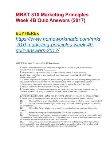 MRKT 310 Marketing Principles Week 4B Quiz Answers (2017)