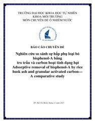 Nghiên cứu so sánh sự hấp phụ loại bỏ bisphenol-A bằng tro trấu và carbon hoạt tính dạng hạt