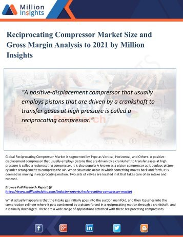 Reciprocating Compressor Market To Witness Swift Growth Owing To Rising Demand From 2016 Industries Till 2021 | Million Insights
