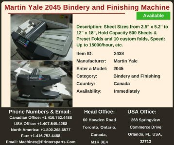Buy Used Martin Yale 2045 Bindery and Finishing Machine