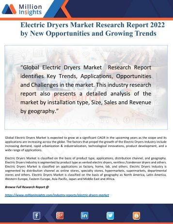 Electric Dryers Industry 2017 Market Research Report Driven by Key Players and Regions