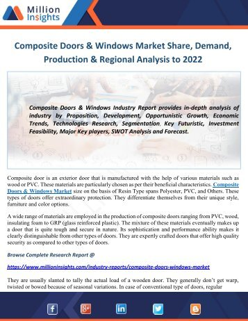 Composite Doors & Windows Market Share, Size, Demand & Growth Forecast to 2022
