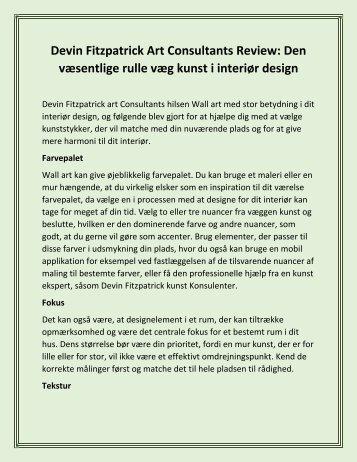 Devin Fitzpatrick Art Consultants Review: Den væsentlige rulle væg kunst i interiør design