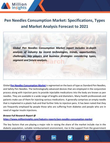 Pen Needles Consumption Market Specifications, Types and Market Analysis Forecast to 2021