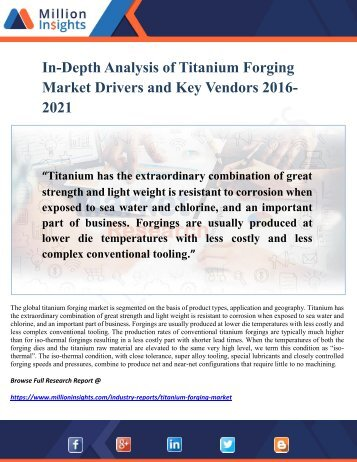 Titanium Forging Market Outlook, Analysis of Top Manufacturer, Supply Chain Analysis 2016 – 2021