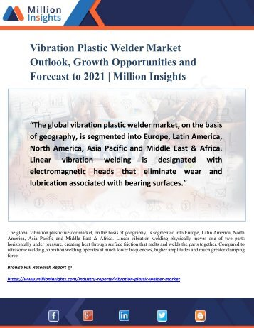Vibration Plastic Welder Market Research Key Players, Industry Overview and Growth Rate Analysis to 2021