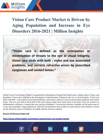 Vision Care Product Market Growth Factors and Share by Manufacturer 2016-2021