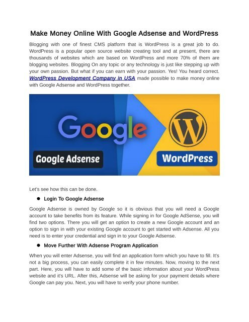 Make Money Online With Google Adsense and WordPress