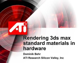 Rendering 3ds max standard materials in hardware