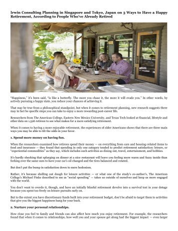 Irwin Consulting Planning in Singapore and Tokyo, Japan on 3 Ways to Have a Happy Retirement, According to People Who've Already Retired