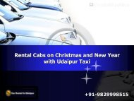 Rental Cabs on Christmas and New Year with Udaipur Taxi