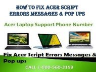 18005603159 How To Fix Acer Script Errors Messages & Pop Ups