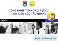 CÔNG NGHỆ TITANDIOXIT (TiO2) - VẬT LIỆU XÚC TÁC QUANG