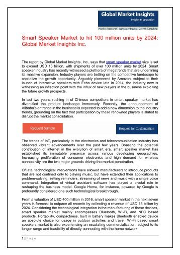 Smart Speaker Market Analysis, Innovation Trends and Current Business Trends by 2024