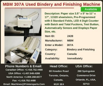 Buy Used MBM 307A Bindery and Finishing Machine