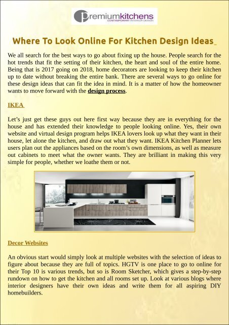 Where To Look Online For Kitchen Design Ideas